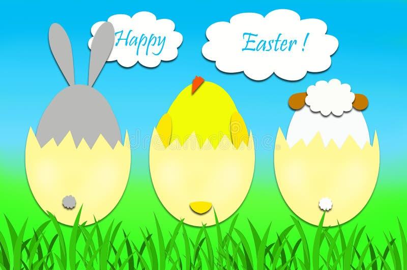 Wielkanocna karta z królikiem, kurczakiem i barankiem w jajkach, ilustracja wektor