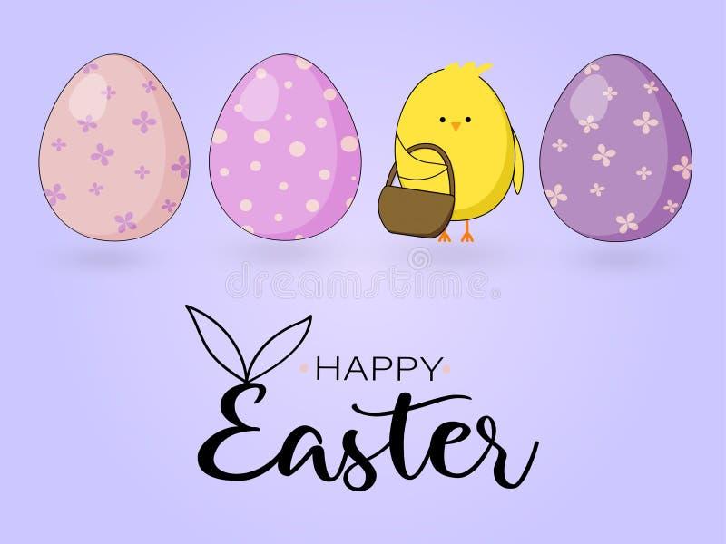 Wielkanocna karta z kurczakiem i jajkami na b??kitnym tle zdjęcia royalty free