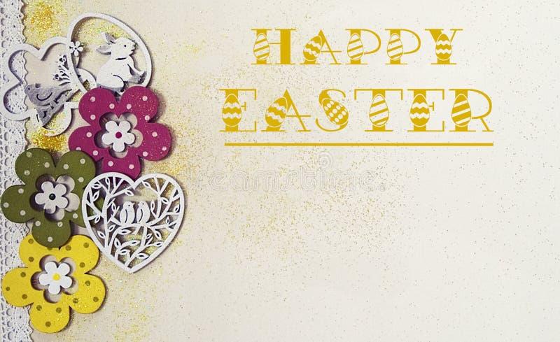Wielkanocna karta z kwiatami, ptakami, kr?likiem i brokatem, zdjęcie stock