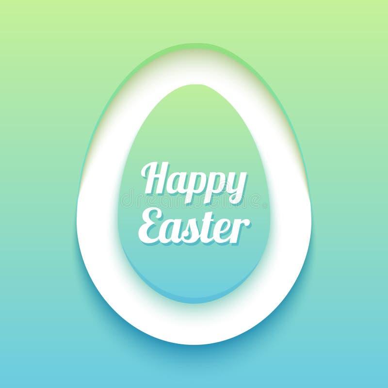 Wielkanocna karta z papierową rżniętą jajeczną kształt ramą Szczęśliwy wielkanoc papier ciie out jajko na zielonym błękitnym tle  ilustracja wektor