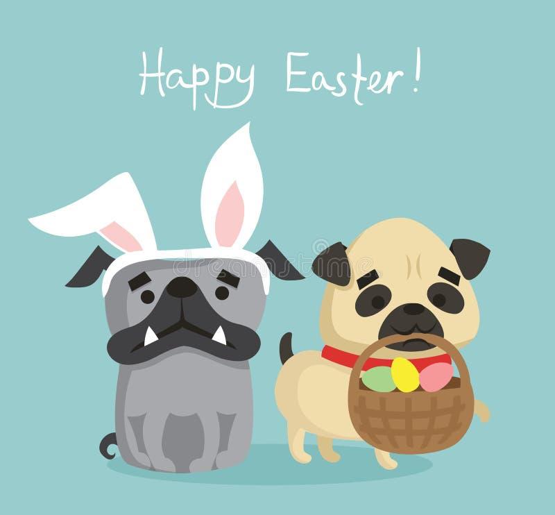 Wielkanocna karta z szczeniaków psami royalty ilustracja