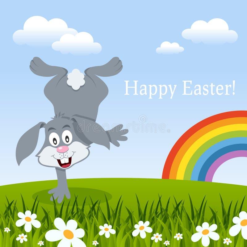 Wielkanocna karta z tęczą i królikiem ilustracji
