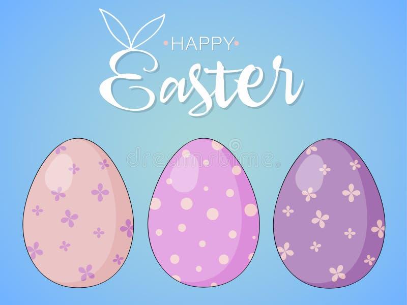 Wielkanocna karta z Wielkanocnymi jajkami na b??kitnym tle fotografia royalty free