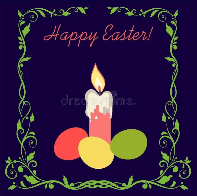 Wielkanocna kartka z pozdrowieniami z świeczką, malującymi jajkami i kwiecistą winietą na ciemnym tle, ilustracja wektor