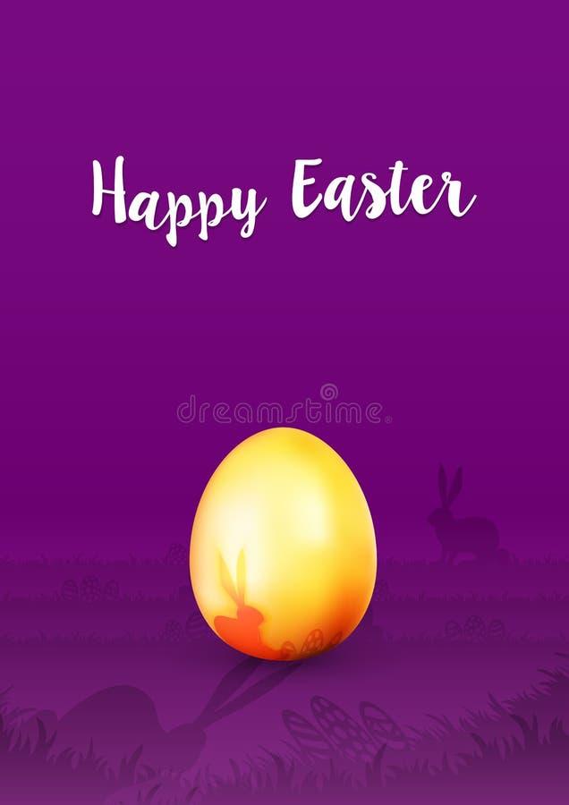 Wielkanocna kartka z pozdrowieniami Szczęśliwa wielkanoc - Złoty Wielkanocny jajko na purpurowym tle z królik sylwetką - ilustracja wektor