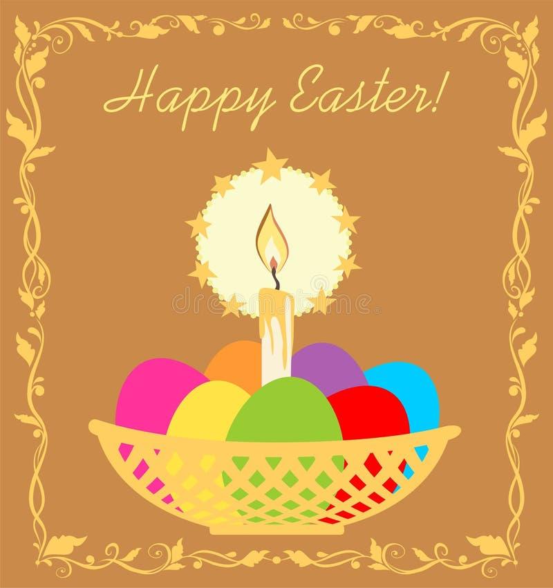 Wielkanocna kartka z pozdrowieniami z złotą świeczką, koszem z malującymi jajkami i kwiecistą winietą, ilustracja wektor