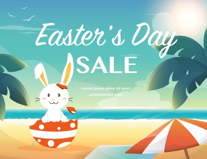 Wielkanocna lato sprzedaż, królik na plaży ilustracji