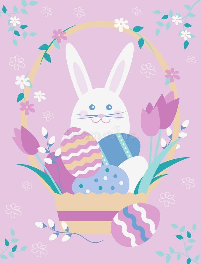 Wielkanocna pocztówka z koszem z jajkami, kwiatami, verba i Wielkanocnym królikiem, wektorowa ilustracja wielkanoc szczęśliwy royalty ilustracja
