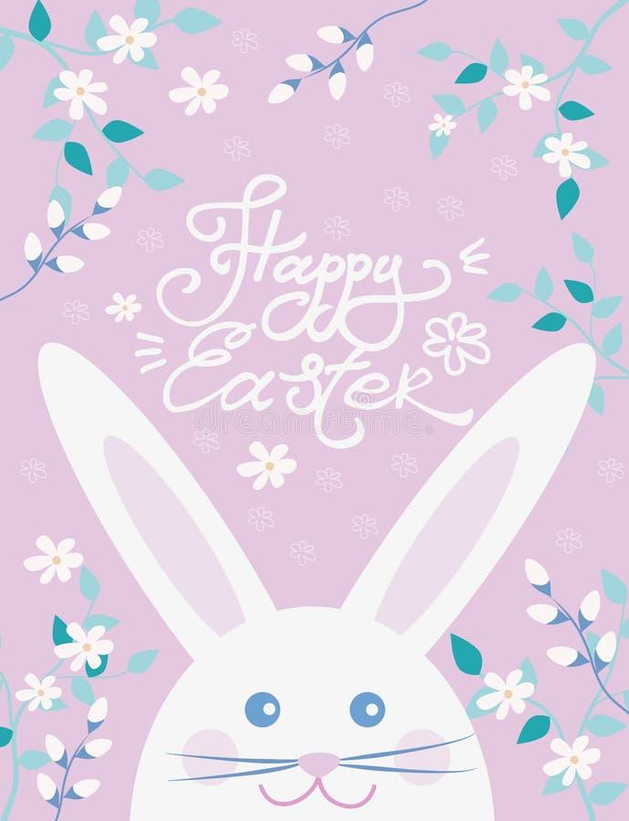 Wielkanocna pocztówka z ślicznym Wielkanocnym królikiem, kwiatami i verba, wektorowa ilustracja wielkanoc szcz??liwy ilustracja wektor