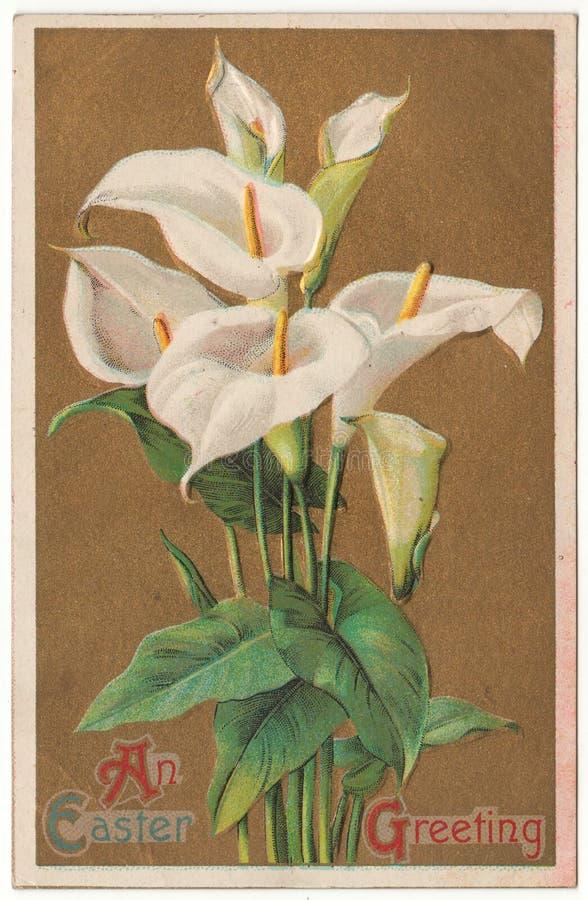 Wielkanocna powitanie rocznika pocztówka zdjęcie royalty free