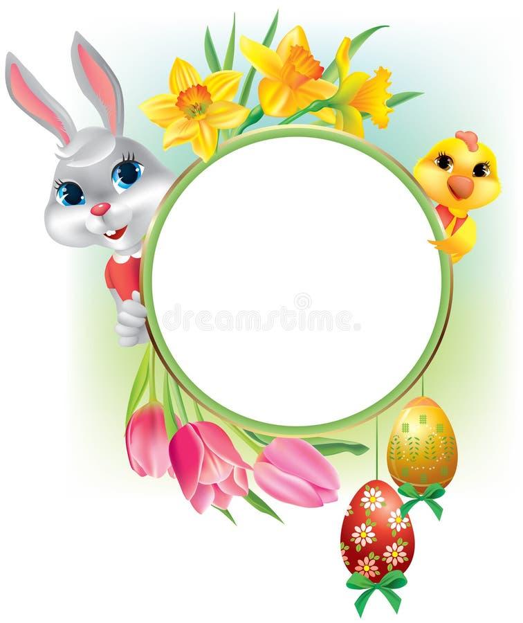 Wielkanocna round rama royalty ilustracja