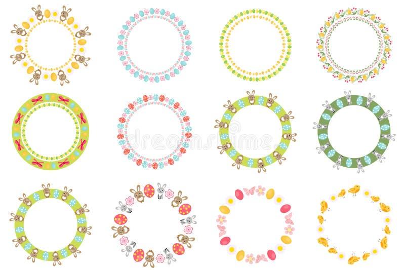 Wielkanocna round rama dla twój teksta setu pojedynczy białe tło również zwrócić corel ilustracji wektora royalty ilustracja