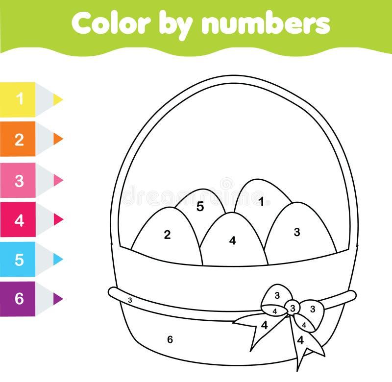 Wielkanocna rysunkowa gra Kolor liczbami, printable worksheet Barwić stronę z Wielkanocnymi jajkami Edukacyjna gra dla berbeci i  royalty ilustracja