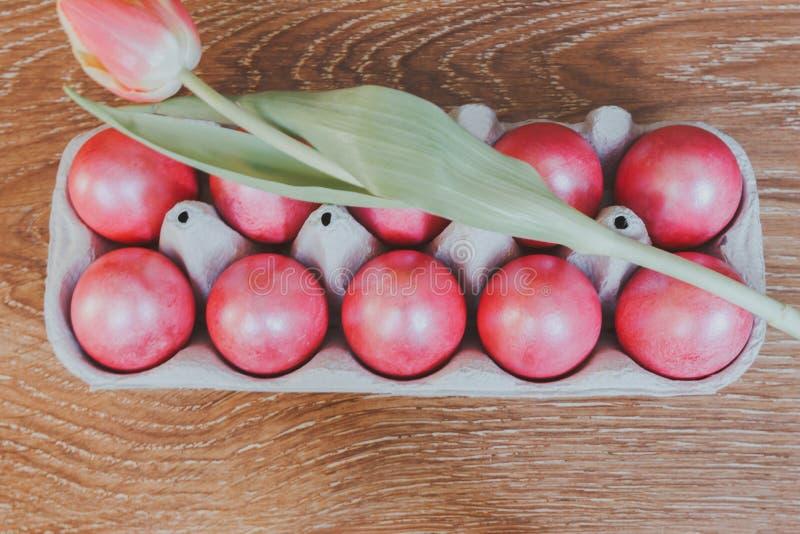 Wielkanocna scena, malujący jajka w pudełku, kwitnie tulipany, odgórny widok zdjęcie stock