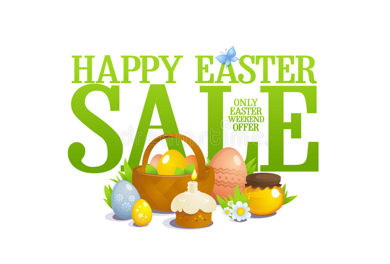 Wielkanocna sprzedaży ilustracja życie z koszem z barwionymi jajkami, ciasto i kwiaty, wciąż, royalty ilustracja
