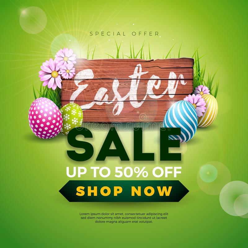 Wielkanocna sprzedaży ilustracja z kolor Malującym jajka i wiosny kwiatem na rocznika drewna tle Wektorowy wakacyjny projekt royalty ilustracja