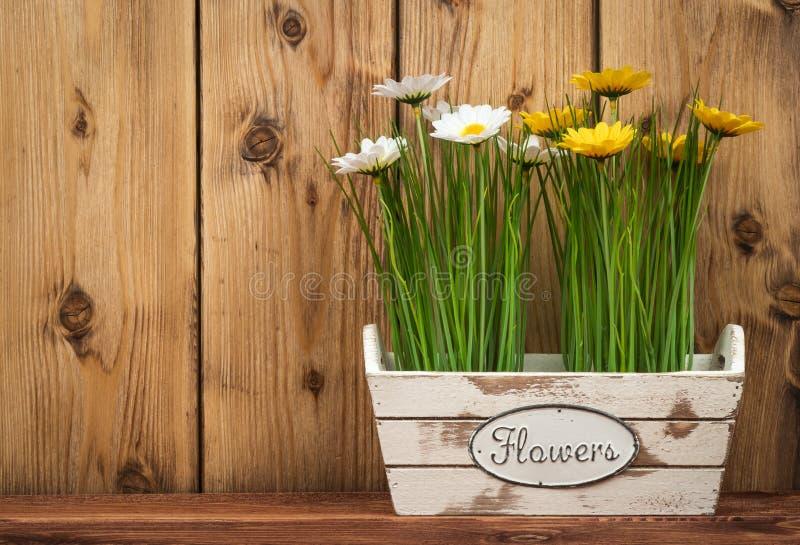 Wielkanocne dekoracje - drewniany pudełko z kwiatami na drewnianym tle zdjęcie royalty free