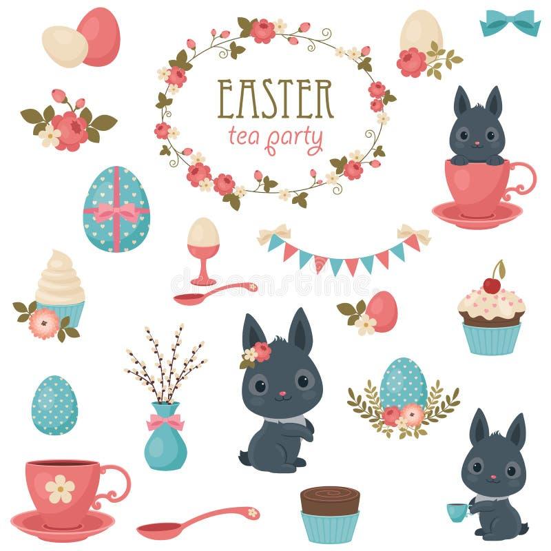 Wielkanocne herbacianego przyjęcia ikony ustawiać royalty ilustracja