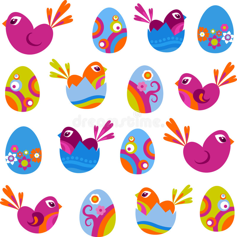 Wielkanocne ikony ilustracja wektor