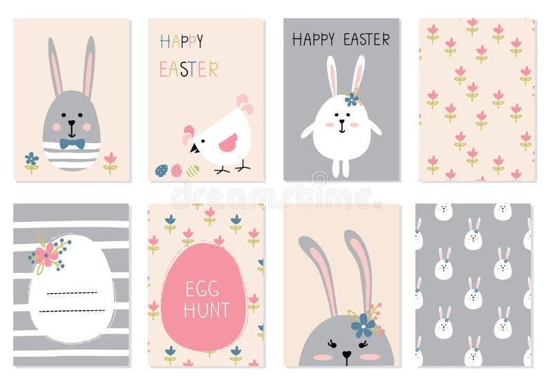 Wielkanocne powitanie karty ustawiać ilustracji