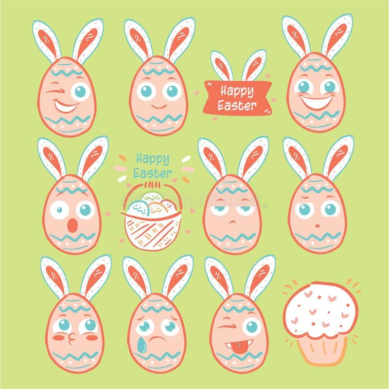 Wielkanocnego dnia jajeczny emoji, jajeczne uśmiech ikony ustawiać ilustracja wektor