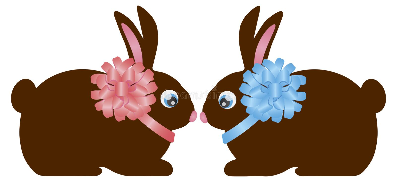 Wielkanocnego dnia królika królika Czekoladowa para royalty ilustracja