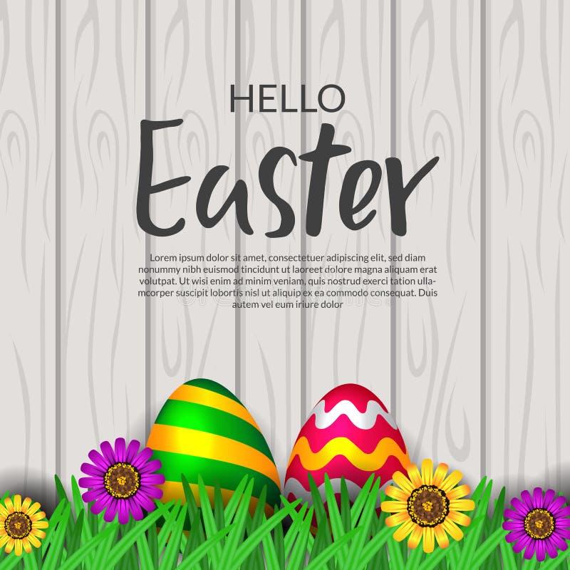 Wielkanocnego jajka ?wi?towanie z traw? i kwiat kwitniemy z drewnianym t?em ilustracja wektor