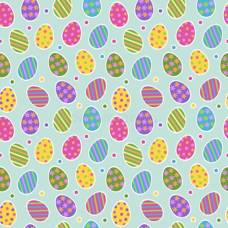Wielkanocnego jajka bezszwowy deseniowy wektorowy tło z ślicznymi colourful malującymi pasiastymi Easter jajek majcherami z kropk ilustracja wektor