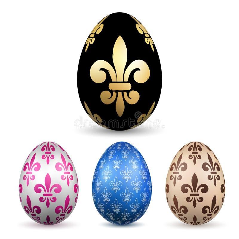 Wielkanocnego jajka 3D ikona Kolorów jajka ustawiający, odosobniony biały tło Kwiatu Fleur De Lis projekt, dekoracji Szczęśliwa w ilustracja wektor
