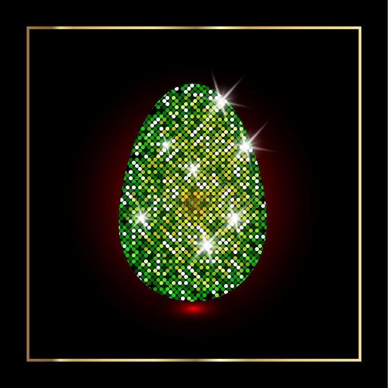 Wielkanocnego jajka dekoracyjny diament, błyszczący błyskotliwy jajko z luksusowym gwiaździstym texure dla powitania, zaproszenie ilustracji