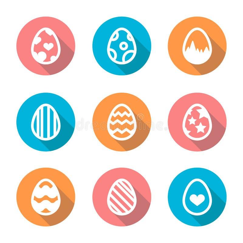 Wielkanocnego jajka ikona ustawiająca w płaskim projekcie z długim cieniem ilustracji