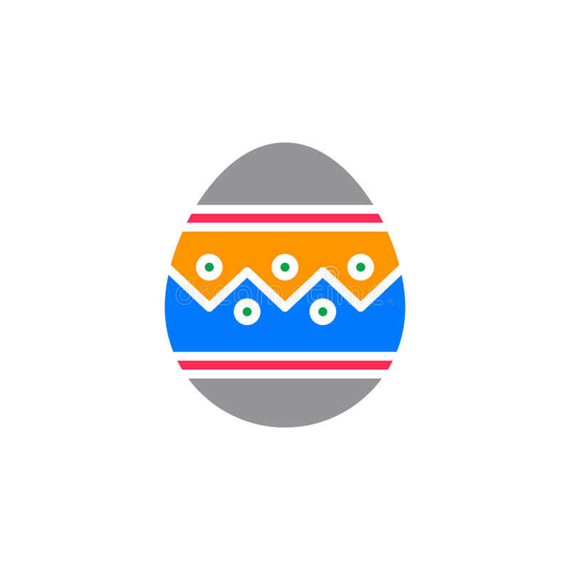 Wielkanocnego jajka ikony wektor, wypełniający mieszkanie znak, stały kolorowy piktogram na bielu royalty ilustracja