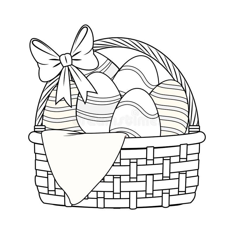 Wielkanocnego jajka kosz z faborku odosobniony czarny i biały ilustracja wektor
