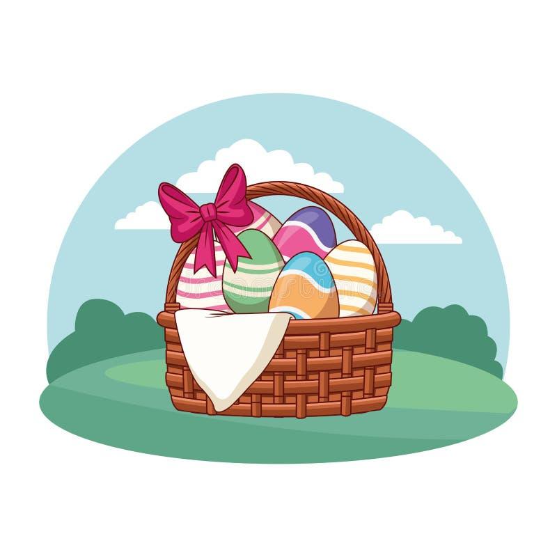 Wielkanocnego jajka kosz z tasiemkową natury tła round ramą ilustracji