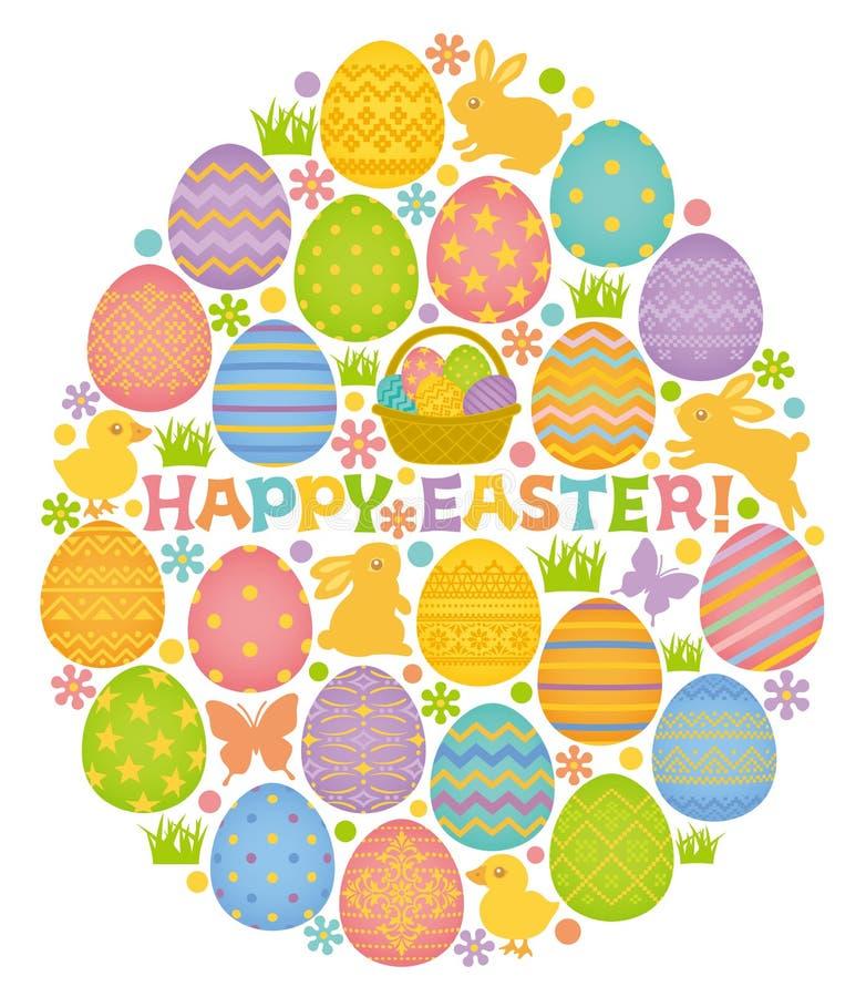Wielkanocnego jajka kształt z Wielkanocnymi jajkami, królikami i kurczątkami. ilustracja wektor