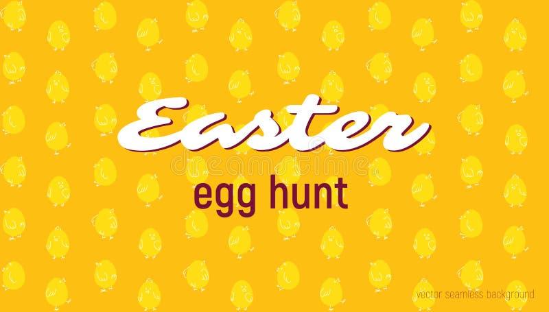 Wielkanocnego jajka polowania karta, bezszwowy wektoru wzór royalty ilustracja