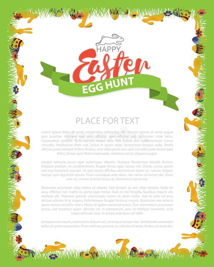 Wielkanocnego jajka polowania zaproszenia ulotki projekt z królikiem, jajko na Zielonej trawie Literowanie inskrypci wielkanoc we ilustracja wektor