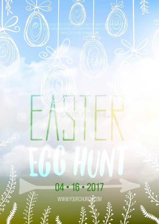 Wielkanocnego jajka polowanie, Wielkanocny zaproszenie plakata szablon royalty ilustracja