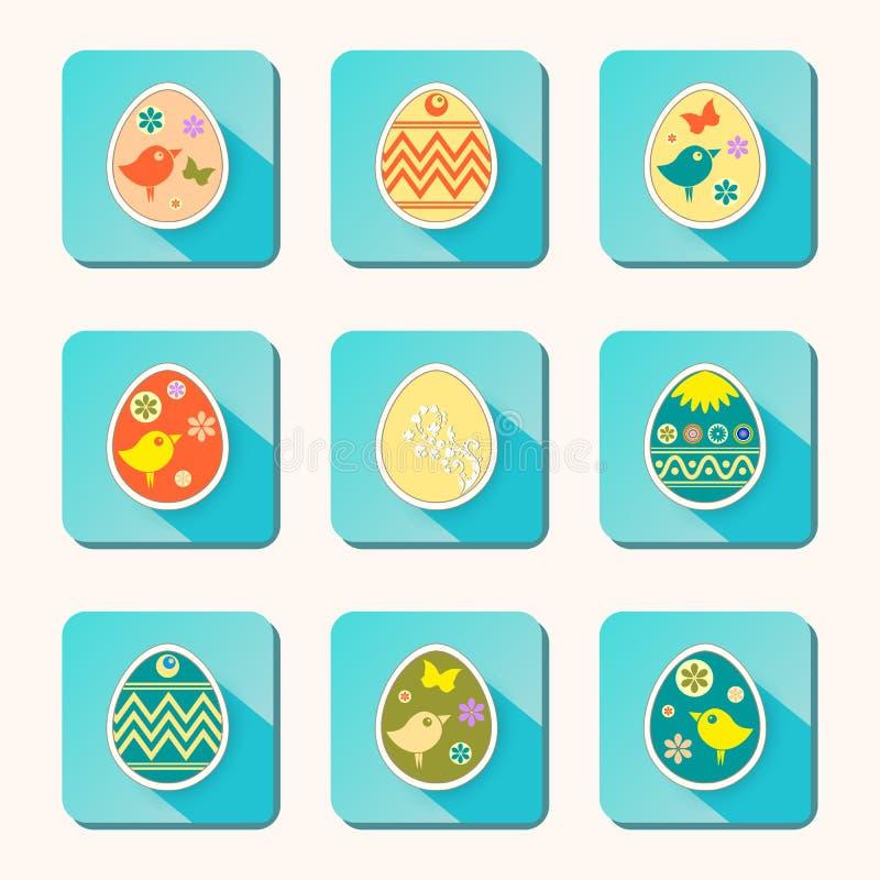 Wielkanocnego jajka sylwetka ptak, motyl, set ilustracji