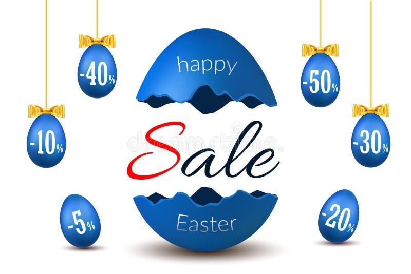 Wielkanocnego jajka teksta sprzedaż Szczęśliwa wielkanoc łamający jajeczny 3D szablon odizolowywał białego tło Projekta sztandar, royalty ilustracja