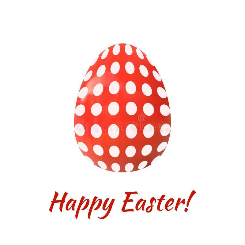 Wielkanocnego jajka WEKTOROWA ilustracja Odizolowywająca na Białym tle, Szczęśliwy zjadacz, Kropkujący Deseniowy Czerwony jajko royalty ilustracja