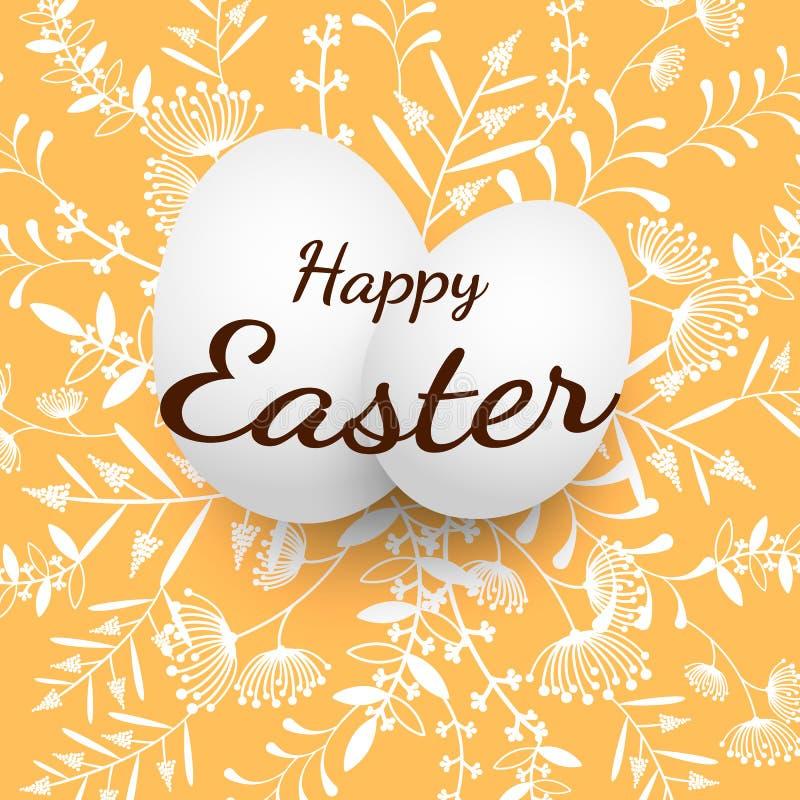 Wielkanocnego jajka wektoru ilustracja grupa jajka z kwiecistym wzorem na pomarańczowym tle ilustracji