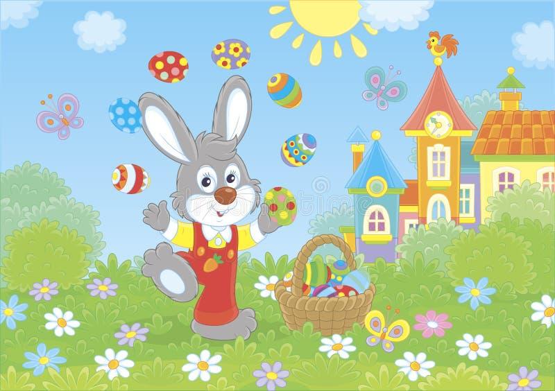 Wielkanocnego królika juggler ilustracji