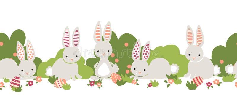 Wielkanocnego królika wektoru bezszwowa granica Śliczni króliki, Wielkanocni jajka, kwiaty, krzaki powtarza tło Kreskówka królikó royalty ilustracja