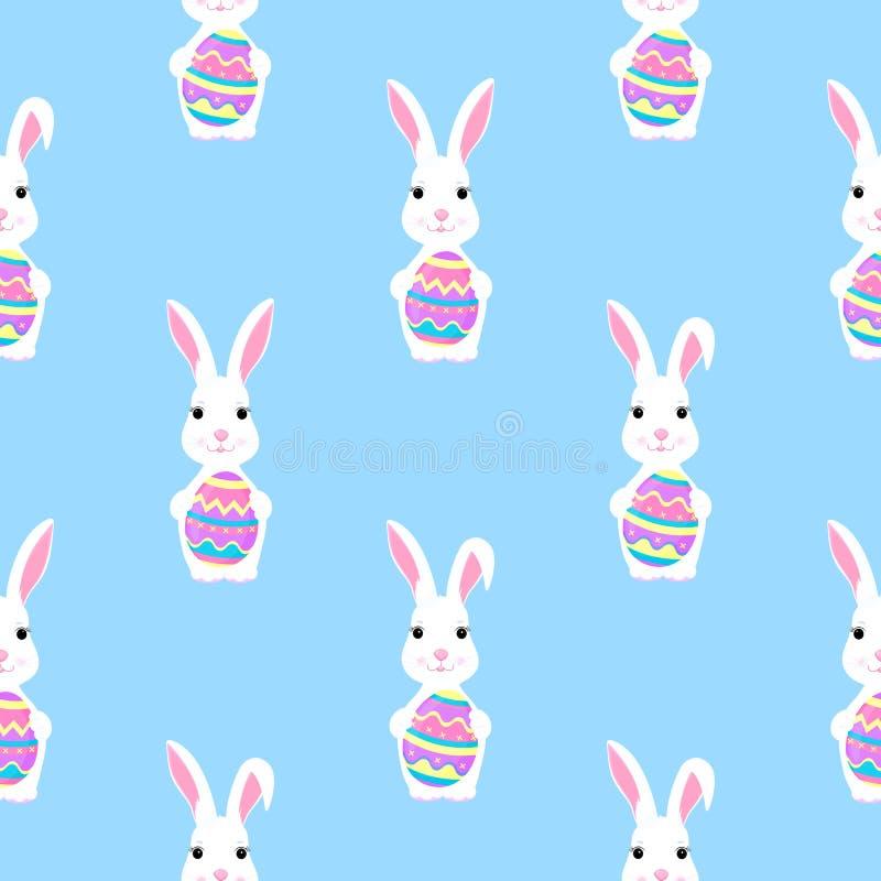 Wielkanocnego królika chwyty malują jajko w łapa bezszwowym wzorze ilustracji