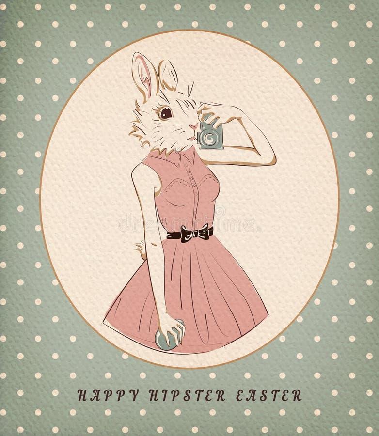 Wielkanocnego królika dziewczyna z jajkiem i kamerą royalty ilustracja