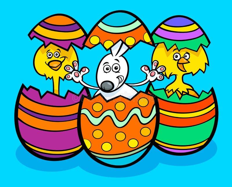 Wielkanocnego królika i kurczaków kreskówki ilustracja ilustracji
