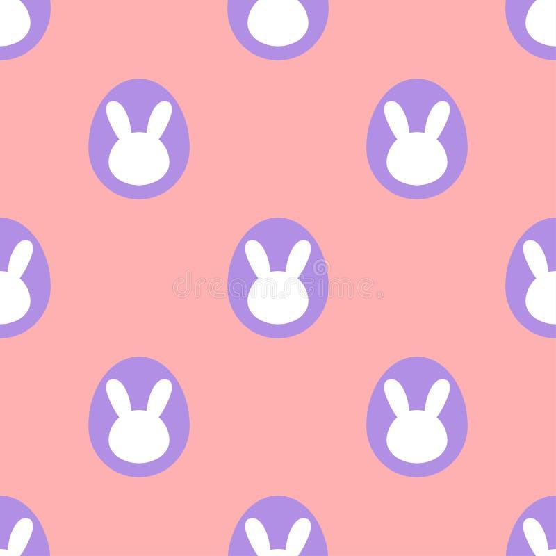 Wielkanocnego królika jajka na różowym tle - bezszwowy wzór ilustracji