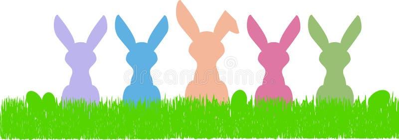Wielkanocnego królika sylwetki i jajka, bezpłatnej kopii przestrzeń royalty ilustracja
