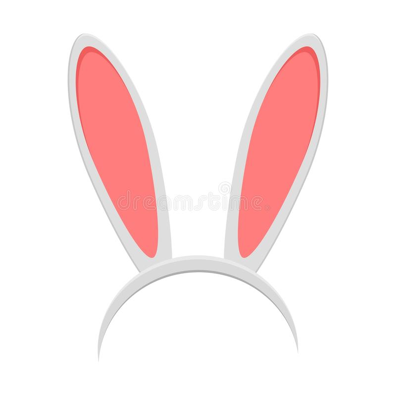 Wielkanocnego królika ucho maska odizolowywająca na białym tle Królika ucho wiosny kapelusz w mieszkanie stylu Pióropusz, kostium ilustracja wektor